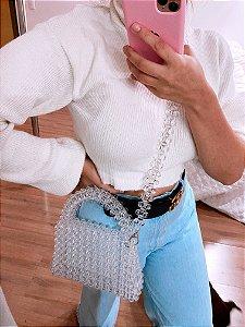 Bolsa Miçangas feita a mão - transparente