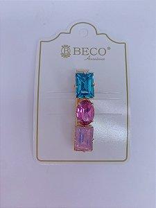 Presilha dourada com pedras quadradas e oval  - azul e rosa