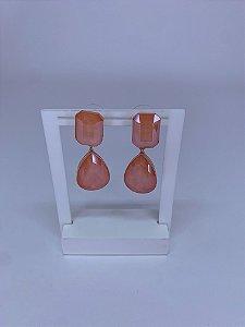Brinco dourado com pedra quadrada e gota maior laranja