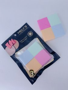 Kit com 4 esponjas cortadas - azul, verde, laranja e rosa