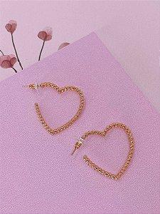 Brinco argola coração com mini bolinhas - dourado ou prata