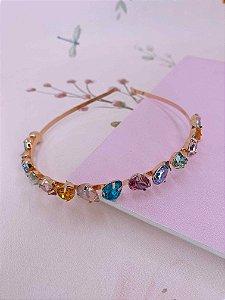 Arco metal com pedras em gotas coloridas - dourado ou prata