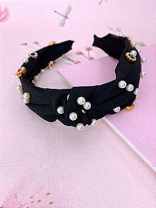 Arco tecido com pérolas e pedras coloridas com strass - azul, bege, rosa, mostarda, preto ou marsala
