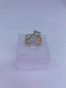 Anel dourado com 3 pedras e strass - rosa claro, azul claro, branco, colorido ou verde tiffany