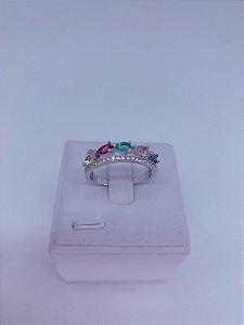 Anel prata pedras e strass-colorido,rosa claro,branco,verde tiffany ou preto