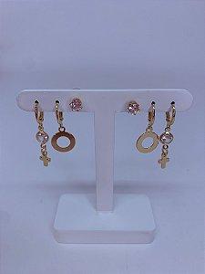 Kit de argolinhas com cruz,círculo e pedra-prata ou dourado