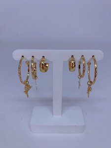 Kit de argolinhas fé e cruz -prata ou dourado
