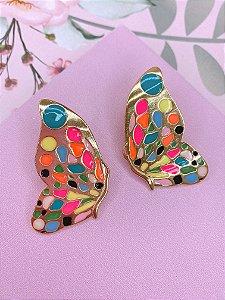 Brinco Borboleta esmaltada - colorida