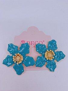Brinco Flor esmaltada - azul