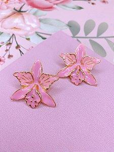 Brinco Flor esmaltada - rosa claro, pink ou branca