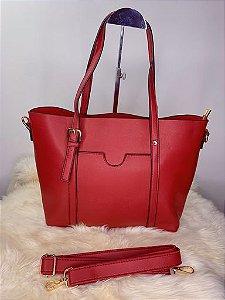 Bolsa baú grande com bolso externo vermelha