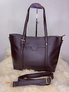 Bolsa grande com bolso externo e alça - preta