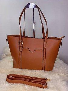 Bolsa grande com bolso externo marrom