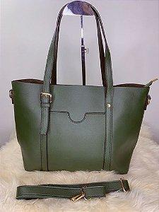 Bolsa baú grande com bolso externo verde militar