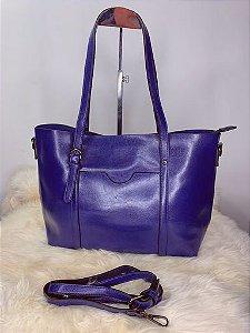 Bolsa baú grande com material maleável azul
