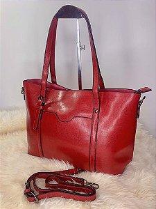 Bolsa baú grande com material maleável vermelha