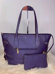 Bolsa grande com carteira - azul