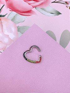Piercing Fake dourado ou prata de coração com strass - branco ou colorido