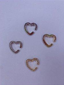 Piercing dourado ou prata de coração com strass - branco ou colorido