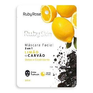 Máscara facial de tecido limão e carvão skin 2 em 1 - Ruby rose
