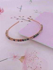 Arco fininho dourado de pedras - colorida ou branca
