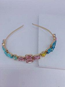 Tiara dourada pedras coloridas - cor 03