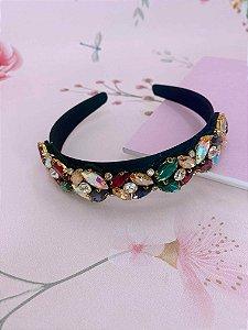 Arco veludo preto com pedraria - colorida, branca, preta, verde ou dourada
