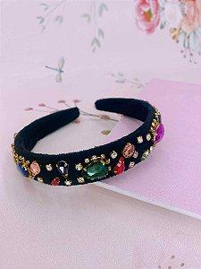 Arco tecido veludo preto com pedras coloridas e strass