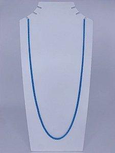 Colar longuinho elos quadrados - azul