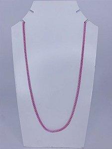 Colar médio elos quadrados - rosa claro