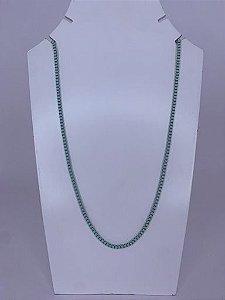 Colar médio elos quadrados - verde tiffany
