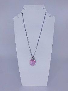 Colar prata coração de pedra-rosa claro,branco ou verde.