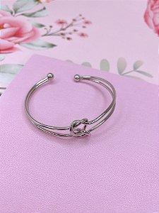 Pulseira bracelete vazado com nó - prata ou dourado