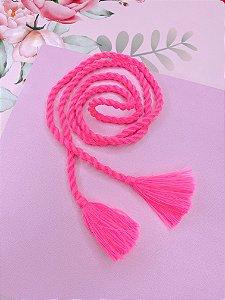 Pulseira  3 em 1 de tecido rosa e tessel