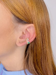 Piercing dourado com strass e pedra-colorido,verde tiffany ou branco