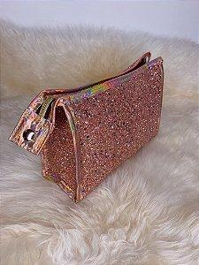Necessaire com glitter  e mini estrelinhas - rosê