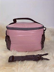 Necessaire térmica,com bolso de tela na lateral e alça ajustável-rosa claro