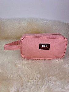 Nécessaire de tecido com alça lateral de mão - rosa claro