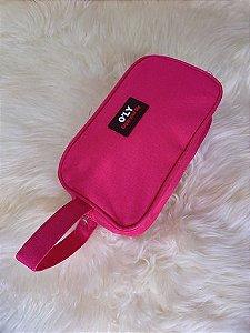 Nécessaire de tecido com alça lateral de mão - rosa pink