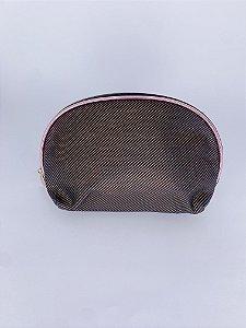 Necessaire organizadora oval com listras - preto com bronze