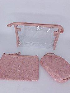 Nécessaire de renda - rosa claro