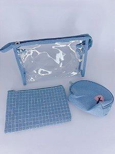 Kit nécessaire listras - azul
