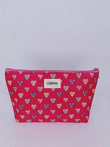 Necessaire média corações estampados - pink