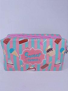 Necessaire listrada e estampada de sorvete, picopé, cupcakes e donuts