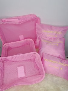 Kit viagem com 6 nécessaires organizadoras - rosa claro