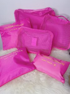Kit viagem com 6 nécessaires organizadoras - rosa pink