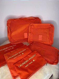Kit viagem com 6 nécessaires organizadoras - laranja