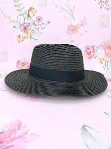 Chapéu Panamá de palha sintética - preto