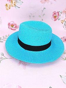 Chapéu Panamá de palha sintética - azul claro