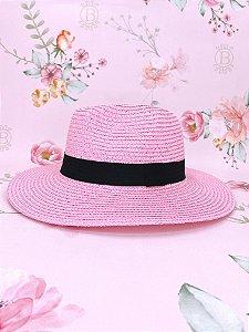 Chapéu Panamá de palha sintética - rosa claro